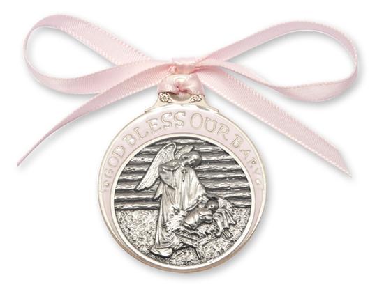 Baby in Manger Crib Medal<br>4301 - 2 x 1 3/4<br>Crib Medal
