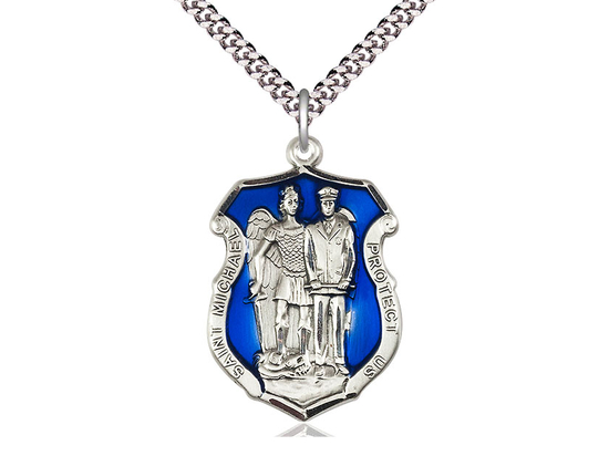 St. Michael the Archangel Police Shield<br>Available in 3 sizes<br>w/ Blue Epoxy
