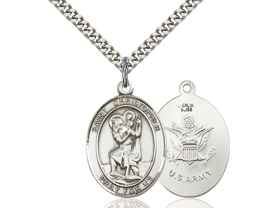 St Christopher Army<br>Oval Patron Saint Series<br>Available in 2 Sizes