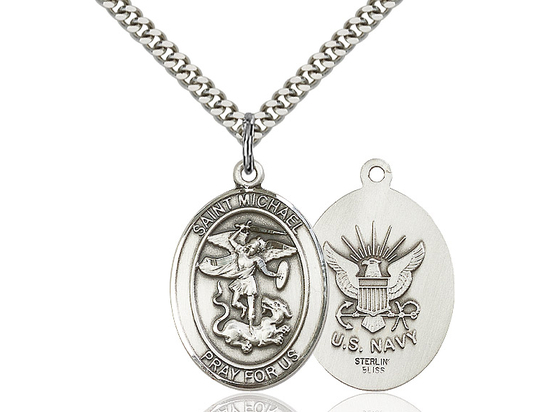 St Michael Navy<br>Oval Patron Saint Series<br>Available in 2 Sizes