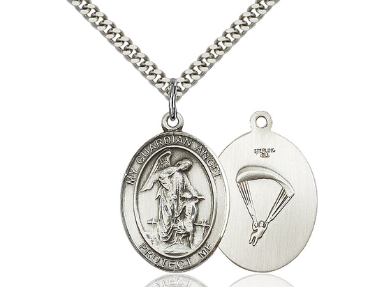 Guardian Angel Paratrooper<br>Oval Patron Saint Series<br>Available in 2 Sizes