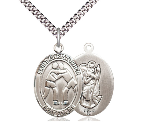 St Christopher Wrestling<br>Oval Patron Saint Series<br>Available in 3 Sizes