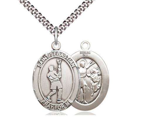 St Sebastian Lacrosse<br>Oval Patron Saint Series<br>Available in 3 Sizes
