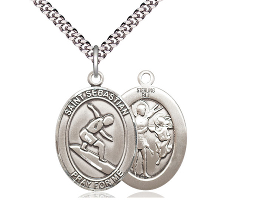 St Sebastian Surfing<br>Oval Patron Saint Series<br>Available in 3 Sizes