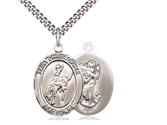 St Christopher Rodeo<br>Oval Patron Saint Series<br>Available in 3 Sizes