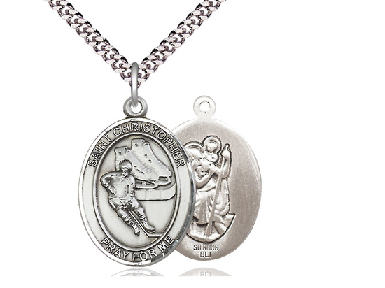 St Christopher Hockey<br>Oval Patron Saint Series<br>Available in 3 Sizes
