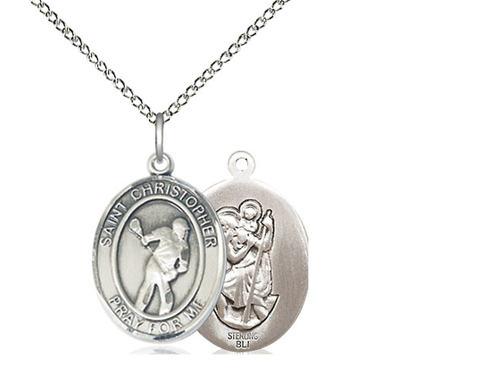 St Christopher Lacrosse<br>Oval Patron Saint Series<br>Available in 3 Sizes