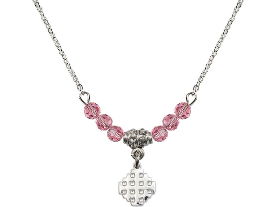 N20 Birthstone Necklace<br>Jerusalem Cross<br>Available in 15 Colors