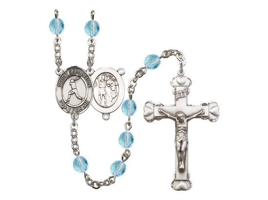R6001 Series Rosary<br>St. Sebastian/Baseball<br>Available in 12 Colors