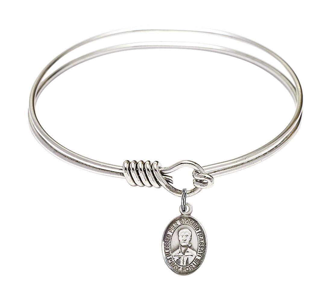 Loop Cross Charm On A Child Sized 5 3//4 Inch Oval Eye Hook Bangle Bracelet