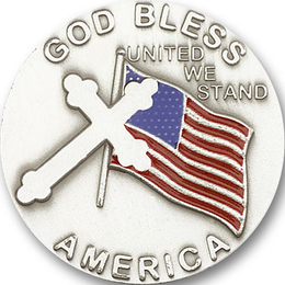 God Bless America<br>1038V - 1 3/8 x 1 3/8<br>Visor Clip