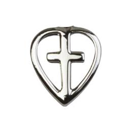Heart / Cross<br>1709L - 1/2 x 3/8<br>Lapel Pin