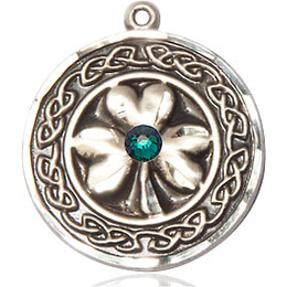 Shamrock w/Celtic Border & Emerald Stone<br>5106 - 3/4 X 3/4