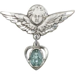 Heart Miraculous Blue Epoxy<br>Baby Badge - 5401E/0733