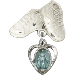 Heart Miraculous Blue Epoxy<br>Baby Badge - 5401E/5923