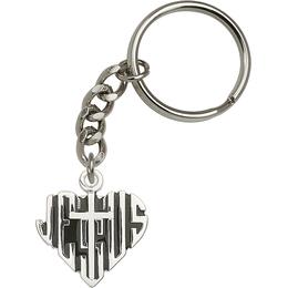 Heart of Jesus w/Cross<br>6044SRC - 1 1/8 x 1 1/8<br>KeyChain
