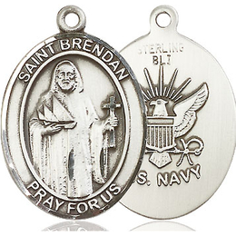 St Brendan Navy<br>Oval Patron Saint Series<br>Available in 2 Sizes
