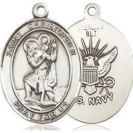 St Christopher Navy<br>Oval Patron Saint Series<br>Available in 2 Sizes