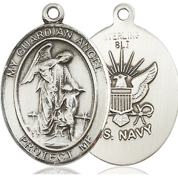 Guardian Angel Navy<br>Oval Patron Saint Series<br>Available in 2 Sizes
