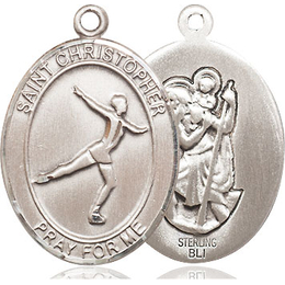St Christopher Figure Skating<br>Oval Patron Saint Series<br>Available in 3 Sizes