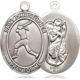 St Christopher Softball<br>Oval Patron Saint Series<br>Available in 3 Sizes