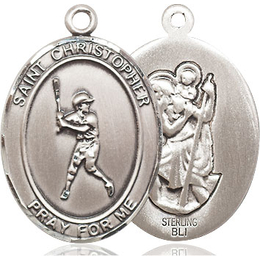 St Christopher Baseball<br>Oval Patron Saint Series<br>Available in 3 Sizes