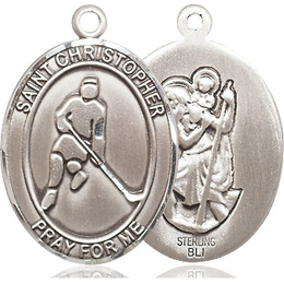 St Christopher Ice Hockey<br>Oval Patron Saint Series<br>Available in 3 Sizes