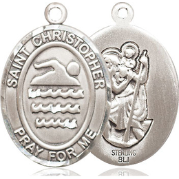St Christopher Swimming<br>Oval Patron Saint Series<br>Available in 3 Sizes