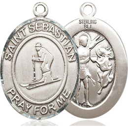 St Sebastian Skiing<br>Oval Patron Saint Series<br>Available in 3 Sizes