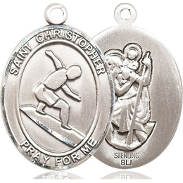 St Christopher Surfing<br>Oval Patron Saint Series<br>Available in 3 Sizes