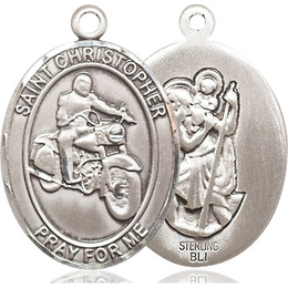St Christopher Motorcycle<br>Oval Patron Saint Series<br>Available in 3 Sizes