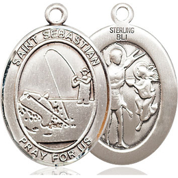 St Sebastian Fishing<br>Oval Patron Saint Series<br>Available in 3 Sizes