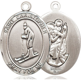 St Christopher Skiing<br>Oval Patron Saint Series<br>Available in 3 Sizes