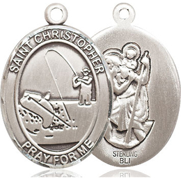 St Christopher Fishing<br>Oval Patron Saint Series<br>Available in 3 Sizes