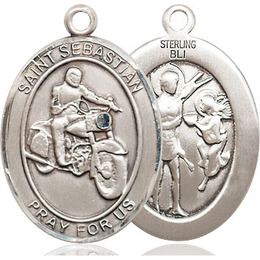 St Sebastian Motorcycle<br>Oval Patron Saint Series<br>Available in 3 Sizes