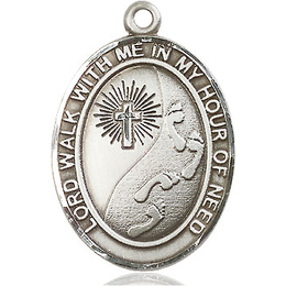 Footprints Cross<br>Oval Patron Saint Series<br>Available in 3 Sizes