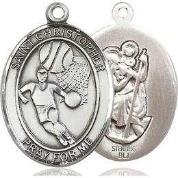 St Christopher Basketball<br>Oval Patron Saint Series<br>Available in 3 Sizes