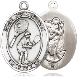 St Christopher Tennis<br>Oval Patron Saint Series<br>Available in 3 Sizes