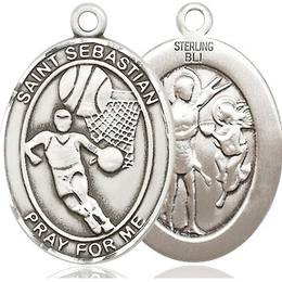 St Sebastian Basketball<br>Oval Patron Saint Series<br>Available in 3 Sizes