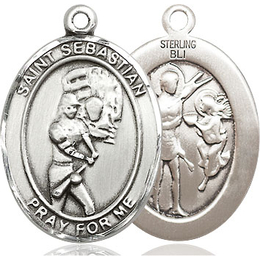 St Sebastian Softball<br>Oval Patron Saint Series<br>Available in 3 Sizes