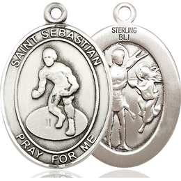 St Sebastian Wrestling<br>Oval Patron Saint Series<br>Available in 3 Sizes