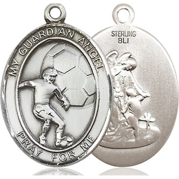 Guardian Angel Soccer<br>Oval Patron Saint Series<br>Available in 2 Sizes