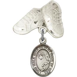 Footprints Cross<br>Baby Badge - 9237/5923