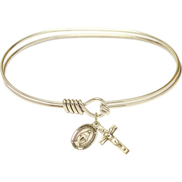 0702M-SET - 7 Oval Eyehook Bangle<br>Miraculous/Crucifix