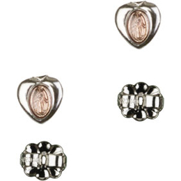 Miraculous Heart - Pink Epoxy<br>E0217PKP - 1/4 x 1/8<br>Earring