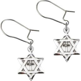 Star of David w/ Cross<br>E1211YD - 1/2 x 3/8<br>Earring