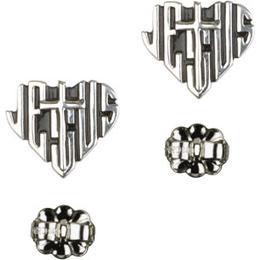 Heart of Jesus / Cross<br>E6041P - 3/8 x 3/8<br>Earring