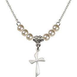 N02 / Faux Pearl Beads<br>0016Y - Cross