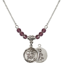 N20 Birthstone Necklace<br>St. Michael the Archangel<br>Available in 15 Colors