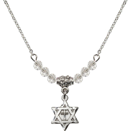 N20 Birthstone Necklace<br>Star of David w/ Cross<br>Available in 15 Colors